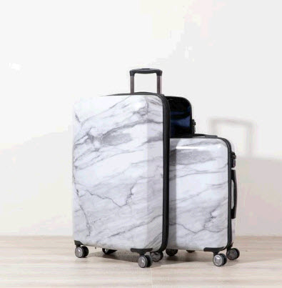 White Marble Luggage Set