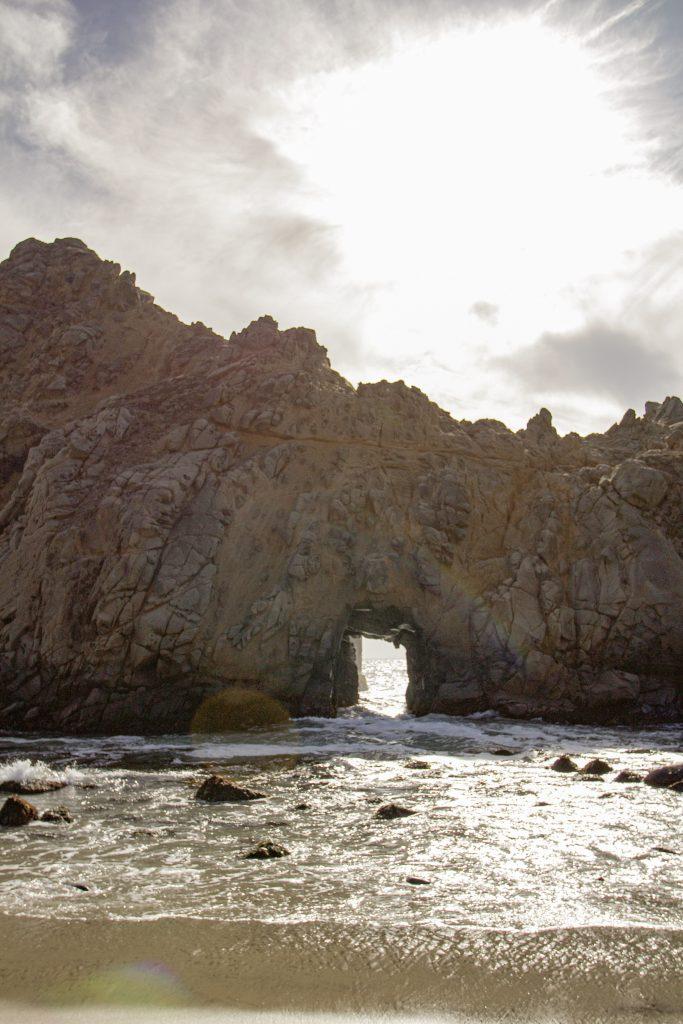 Key Hole Rock on Pfeiffer Beach on Big Sur Road Trip