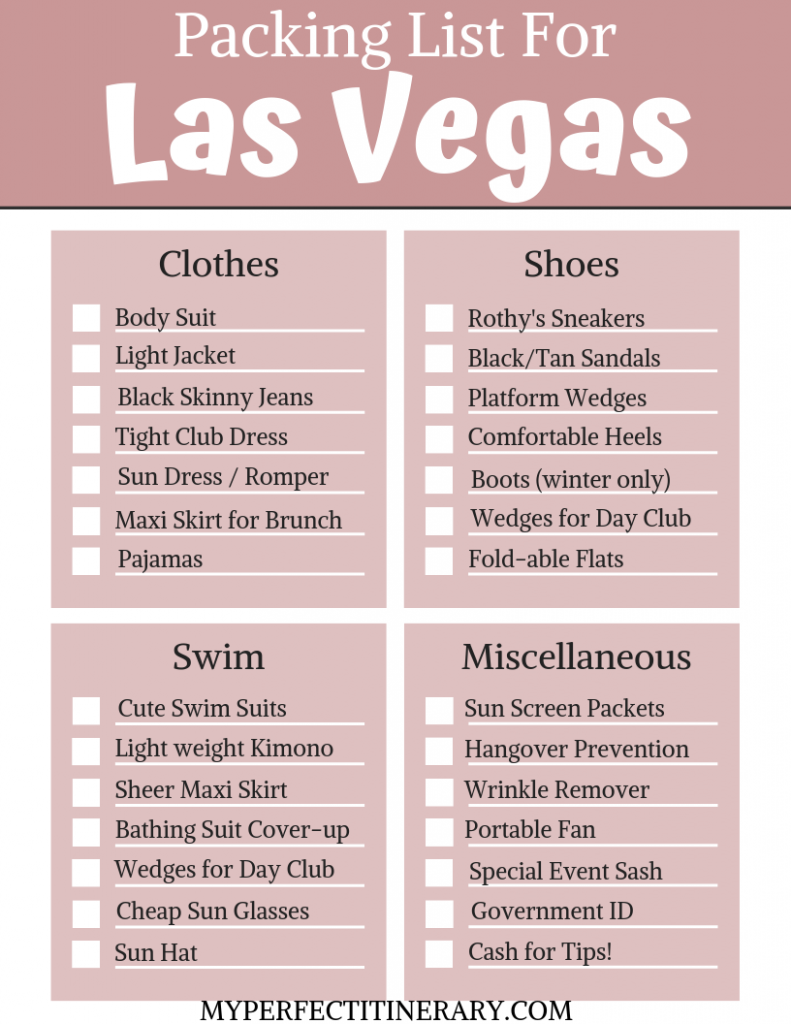 Packing List for Las Vegas