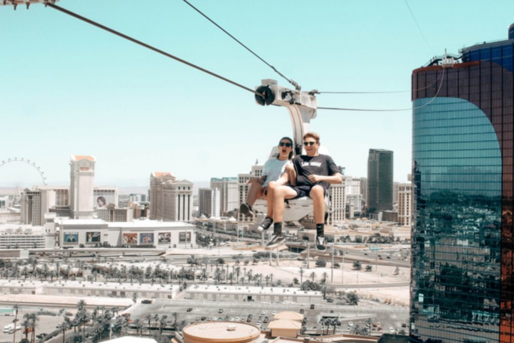 Zip Lining on the Las Vegas Strip