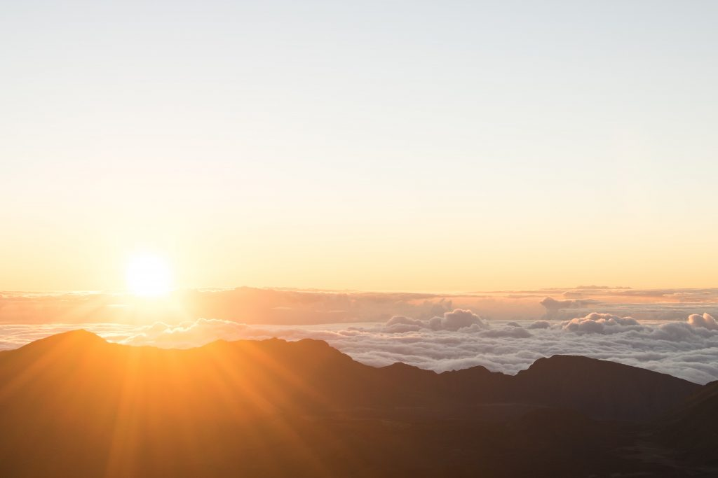 Watching the sunrise at Haleakala National Park Maui