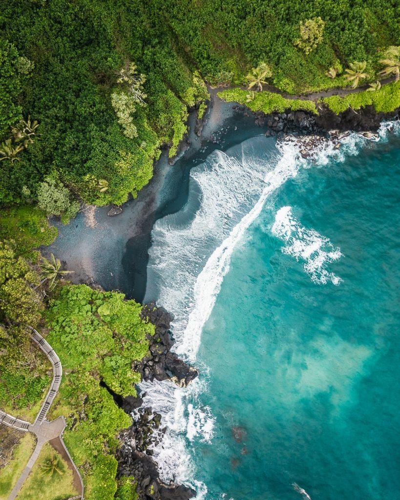 Black Sand Beach on the Road to Hana Maui