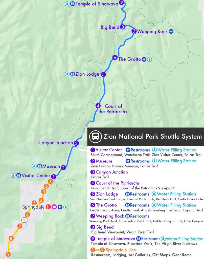 Zion Shuttle Map